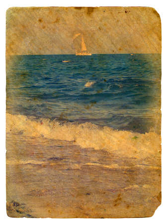 Sailing yacht in sea  Old postcard, design in grunge and retro style photo
