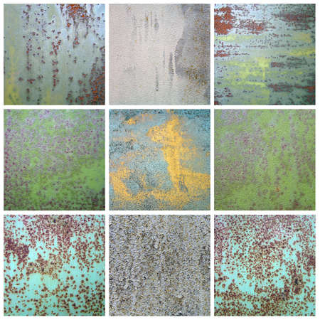 Chipped paint on rusty metal surface  Collection abstract variegated grunge background  photo