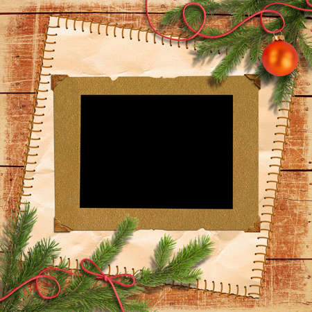 scratch card: Grunge papers design in scrapbooking style with the Christmas tree, and retro framework for photo Stock Photo