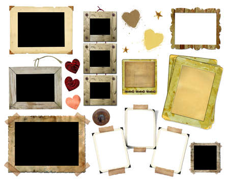 A set of vintage photo frames on a white background. Template for the design in the style of the scrap-bookings Stock Photo - 14372262
