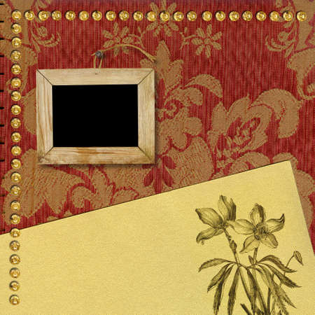 photo album book: Old wooden picture frame and gold paper. The page template for a photo book album