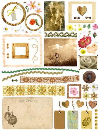 Un ensemble d'éléments de rebut - cadres, photos anciennes, des fleurs, des c?urs, des dentelles, des cartes postales, étiquettes de cadeau. Modèle pour la conception d'album dans un style vintage. Sur un fond blanc Banque d'images - 14668767