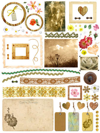 A set of scrap elements - picture frames, old photos, flowers, hearts, lace, postcards, gift tags. Template for the album design in vintage style. On a white background