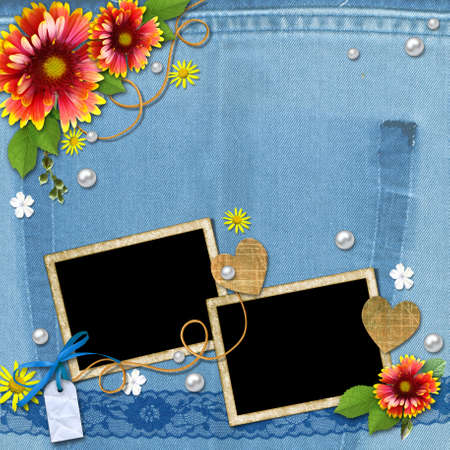 Denim background with frame for photo with flowers, lace and pearls. The template for the scrapbook design of vintage style photo book photo