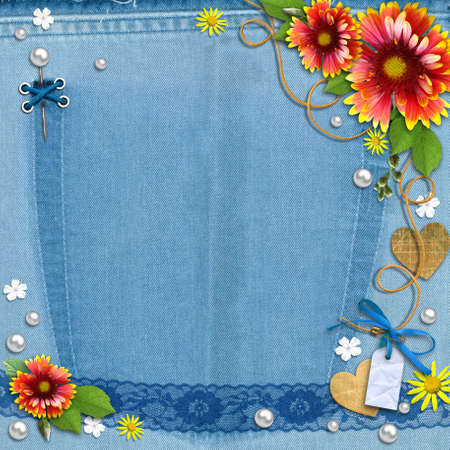 Blue denim background with flowers, lace and pearls. The template for the scrapbook design of vintage style photo book