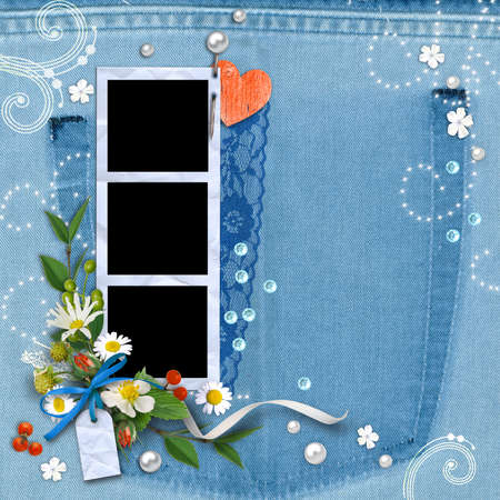 Denim background with frame for photo, flowers, lace and pearls. Template page to design photo books