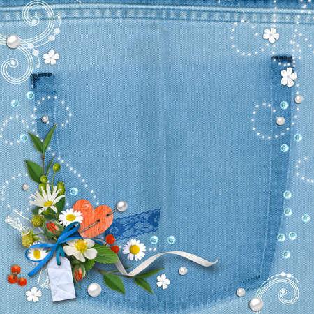 mezclilla: Vintage azul denim textura de fondo con flores. Página para diseñar libros de fotos