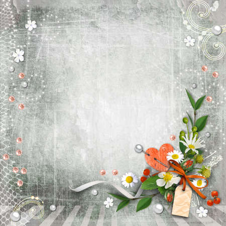 Grey textured background vintage with flowers. Page to design photo books, album. photo