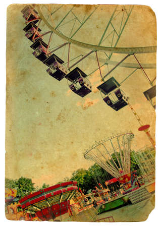 Amusement park, a Ferris wheel. Old postcard - Retro styling photo
