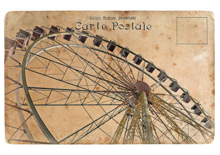An old postcard with a big Ferris wheel. Retro styling Stock Photo