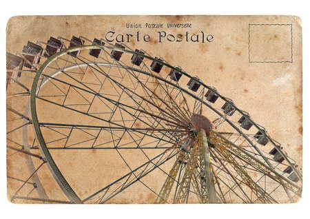 Een oude ansichtkaart met een grote reuzenrad. Retro styling