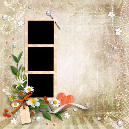 Getextureerde achtergrond vintage met kaders en bloemen. Pagina om fotoboeken te ontwerpen