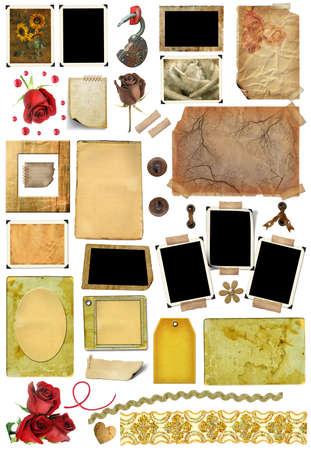 ferraille: Un ensemble d'�l�ments de rebut, cadres, bords de photos et de la texture du papier. Mod�le pour la conception d'albums dans le style vintage. Sur un fond blanc Banque d'images