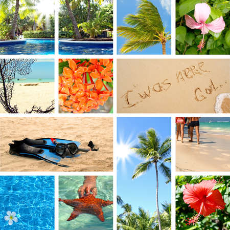 Tropical collage. Exotic travel. Summertime theme photo  photo