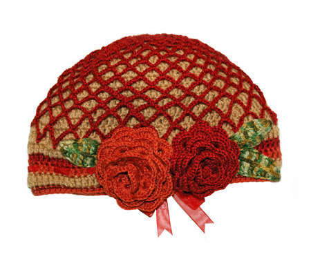 cosiness: Womens knitted hat handmade with flowers rose