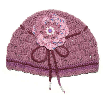 Women's knitted hat handmade with flower and beads Banque d'images