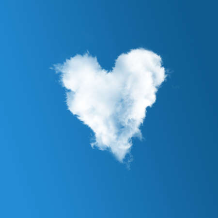 Cloud-shaped heart on a blue sky photo
