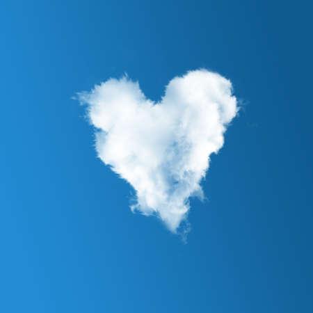 Cloud-shaped heart on a blue sky photo