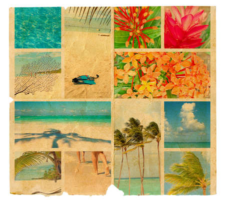Tropical collage on a piece of old paper photo