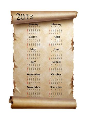 Calendar 2013  Scroll of old paper with curled edges isolated on white Stock Photo - 15386189