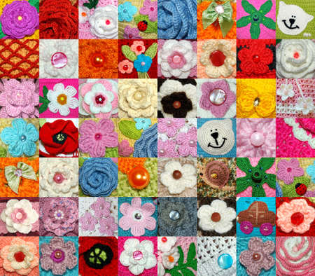 A large collection of hand-knitted items. Flowers, animals, beads Banque d'images