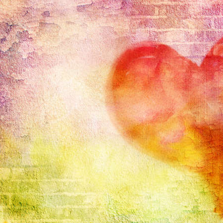 abstract wall, brick, cracked paint and heart. Vintage background image for design photo album, photo book with grunge texture.  photo