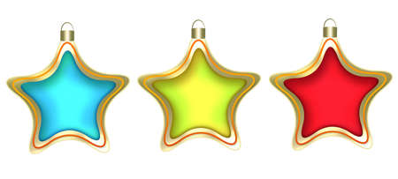 Three christmas stars on a white background. Red, yellow, blue Christmas Toy photo