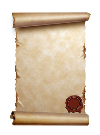 antique scroll: Scroll of old paper with curled edges and wax seal isolated on white