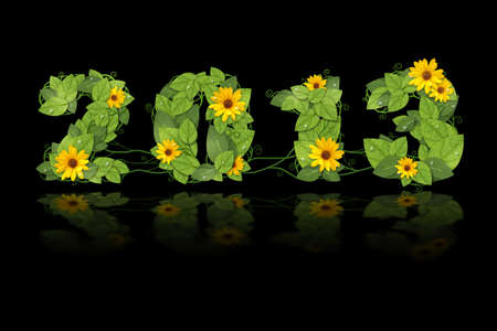 New year 2013. Date lined green leaves with drops of dew and yellow flower. Isolated on black background photo
