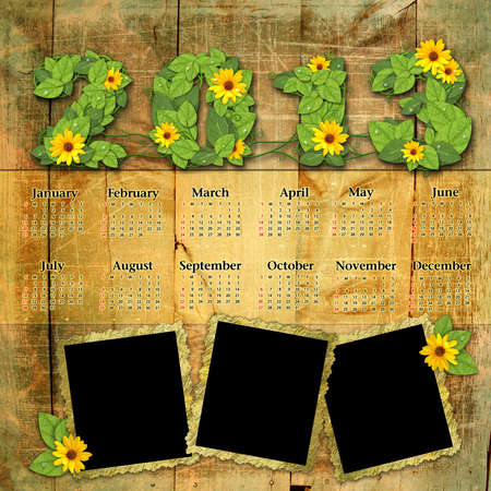 Vintage calendar 2013 with a template for picture edges Stock Photo - 16098032