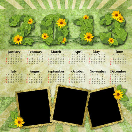 Vintage calendar 2013 with a template for picture edges photo