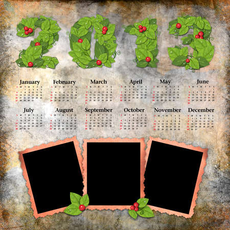 Vintage calendar 2013 with a template for picture edges Stock Photo - 16098033