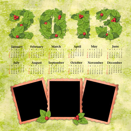 Vintage calendar 2013 with a template for photo edges photo