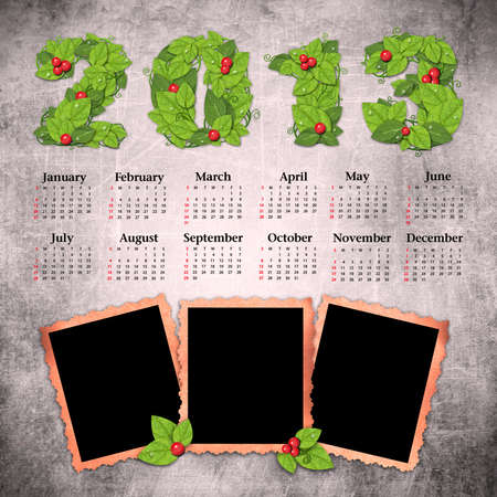 Vintage calendar 2013 with a template for photo edges Stock Photo - 16240045
