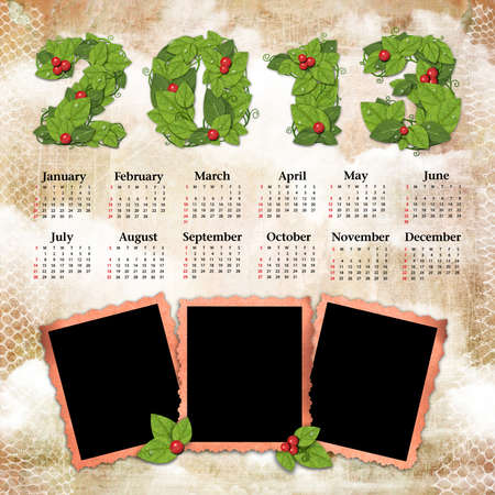 Vintage calendar 2013 with a template for photo edges Stock Photo - 16240043