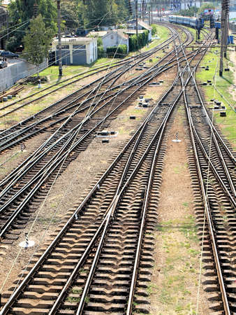 The panorama of railroad tracks. Top view. Stock Photo - 16240040