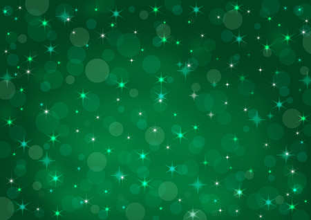 abstract background green bokeh circles and stars Stock Photo - 16240055