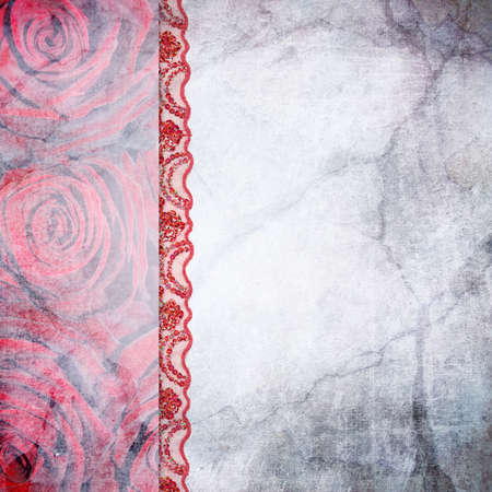 Border of roses and lace Stock Photo - 16729291