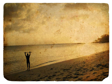 Silhouette of a man on the beach, sunset. Old postcard, design in grunge and retro style