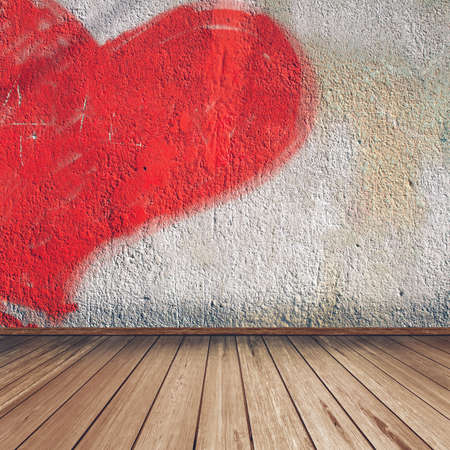 Empty interior of vintage room without ceiling, wall from plaster with heart and old wood floor Stock Photo - 16729294