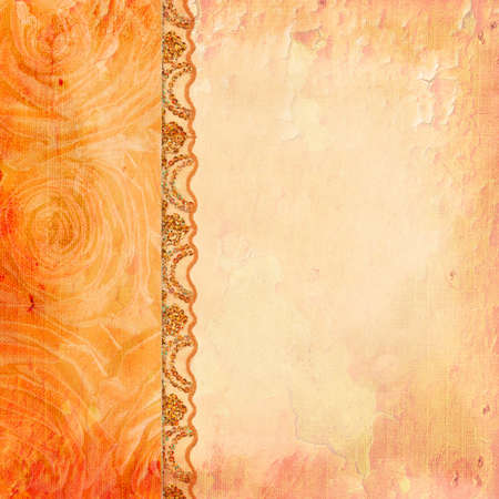 Border of roses and lace. Textured abstract background for the photo book, photo album. Vintage style Stock Photo - 17155785
