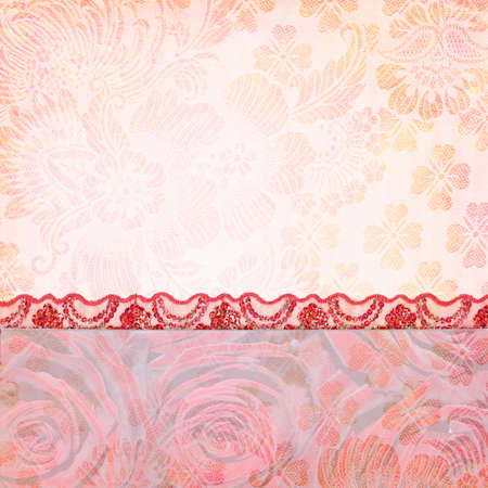 Border of roses and lace. Textured abstract background for the photo book, photo album. Vintage style Banque d'images
