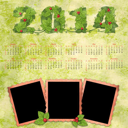 Calendar 2014 with a retro photo frames on textured background vintage.  Banque d'images