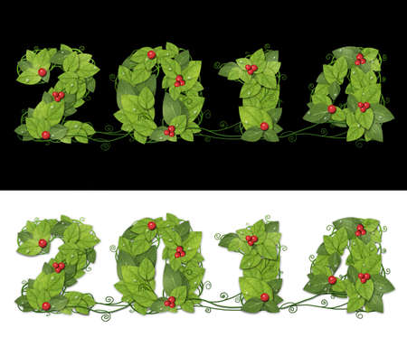 New year 2014. Date lined green leaves with drops of dew and red berry. Isolated on black and white background Banque d'images