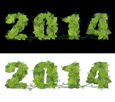 New year 2014. Date lined green leaves with drops of dew. Isolated on black and white background