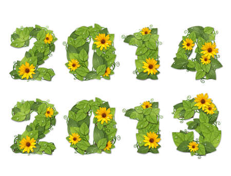 New year 2013. Date lined green leaves with drops of dew and yellow flowers. Isolated on white background