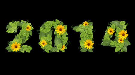 New year 2014. Date lined green leaves with drops of dew and flower. Isolated on black background Stock Photo - 21576386