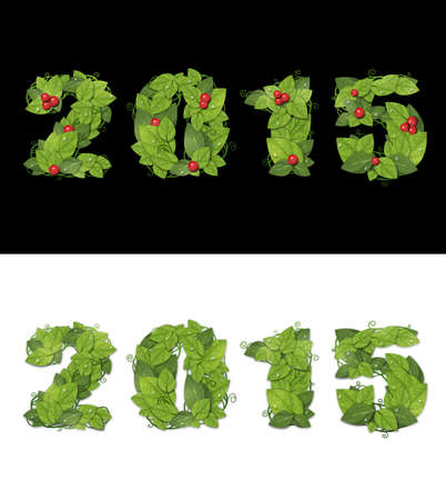 New year 2015 Date lined with green leaves with drops of dew.