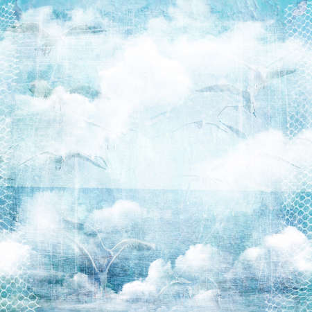 An abstract vintage texture background with clouds and seagull. Page to design photo books, album. Banque d'images