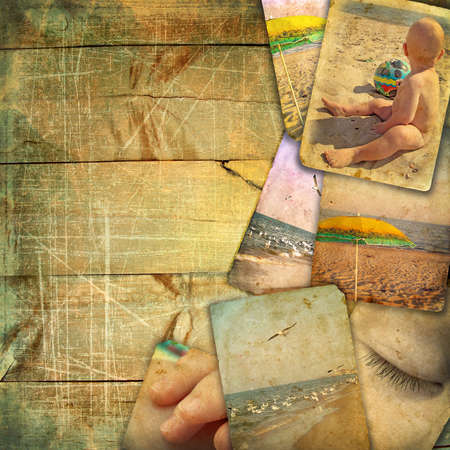 pastiche: Old photographs of landscape sea, baby, beach on a wooden background. Cards it is not in the public domain. This vintage pastiche of my photos Stock Photo